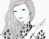 MOVING SALE - Haute Couture high fashion portrait illustration large archival print of a female with drop pearl earrings and a lace top