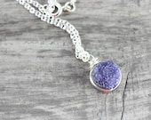 Violet Druzy Necklace, Purple Druzy Necklace, Sterling Silver Necklace, Small Pendant Necklace, Circle Necklace, Wire Wrap Necklace, Quartz