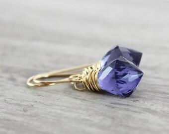 Deep Purple Earrings, Purple Gemstone Earrings, Quartz Earrings, Wire Wrap Earrings, Gold Fill Earrings, Dark Violet Earrings
