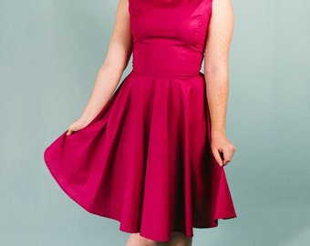 "Women's Scoop Neck Retro ""Agatha"" Dress ---------Custom Sized and Color (non-reversible)"
