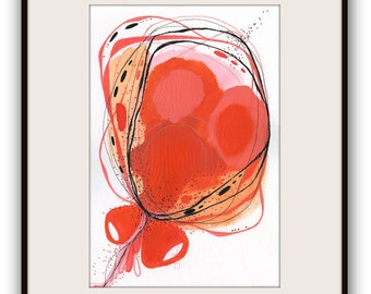 """Abstract Art,Flower Abstract Painting, Original Painting on paper, Botanical Abstract,  Simple Embroidery """"Acquire"""""""