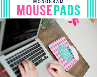 monogrammed mousepad - cute mousepad - personalized mousepad - employee gift - coworker gift