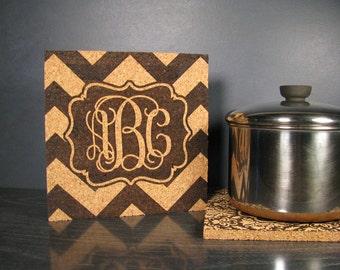 Personalized Gift Chevron Monogram - Cork Wall Art Tile or Hot Pad Trivet - Kitchen Bedroom Bathroom Dorm Room Decor