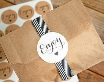 Wedding Favor Stickers - Wedding Favors, Jam Jars, Party Favors, Shower Favors - ENJOY - 25 Stickers