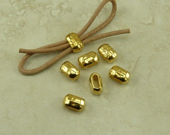 6 TierraCast 6x2mm ID Hammertone Hammered Large Barrel Crimp Spacer Beads > 22kt Gold Plated Lead Free Pewter - I ship Internationally 5792
