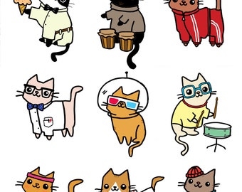 Cute Cat Stickers Sticker Sheet Planet Kitty Funny Stickers Cute Gift Felines