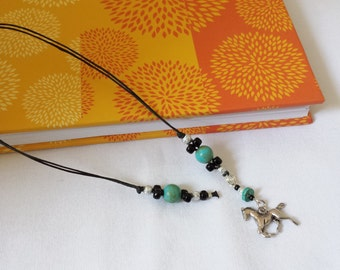 Beaded Bookmark Horse/ Turquoise, Black, And Silver/ Beaded Cord With Metal Charm/ Handmade Book Thong/ Journal Marker/ Book Lover Gift