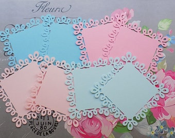 Colored Swirl Loop Square Paper Doilies