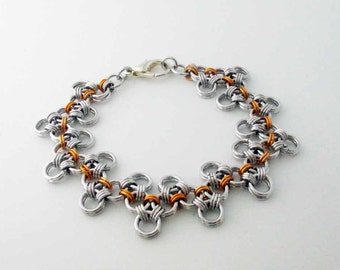 Two Tone Zig Zag Chainmaille Bracelet Handmade