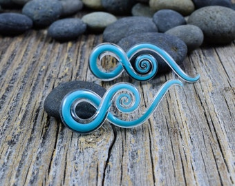 4G   Captured Aqua   Mini Squids   Gauged Glass Body Jewelry for Stretched Piercings by Glassheart