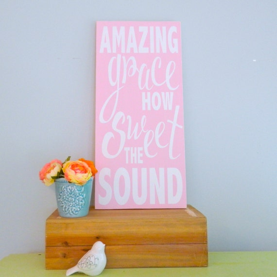 Large Amazing grace how sweet the sound. Wooden Hymn Sign.  Subway Art.  Christian Decor. 11x24 inches