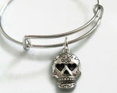 Adjustable Expandable Sugar Skull Charm Bracelet