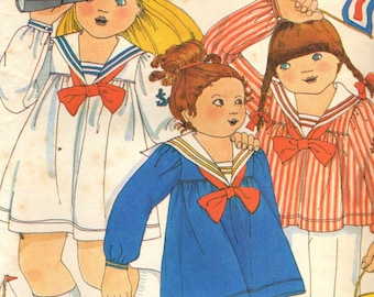 BUTTERICK 5280 - 1970's BETSEY JOHNSON Sailor Dress, Top, and Pants - Girl's Size 4