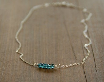 Bar-Style Birthstone Necklace Wire Wrapped with London Blue Quartz in Sterling Silver