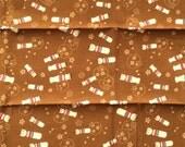 Japanese Fabric- Kokeshi Doll Fabric - Traditional Japanese - Brown Fabric - Doll Fabric  (F159) SMALL SIZE