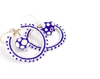 Beaded Hoop Earrings // Blue and White // Lampwork Bead // Beadwork // Sead Beads