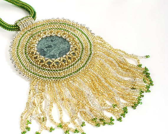 Rising Sun // Beaded Necklace // Statement Piece // Seed Beads // Marble Bead // Gold and Green // Beadwork