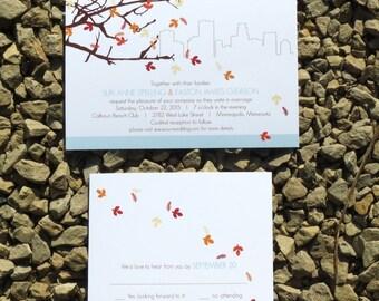 Skyline Fall Wedding Invitations - Custom - Fall Wedding Invitations - Deposit