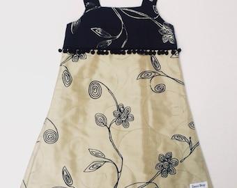 Handmade Girls Dress with Pompom Fringing -  Size 5