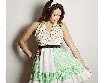 VEGETABLE Halter DRESS, Halter Dress,  Womans dress, Vintage dress, VEGGIE Dress, Green Gingham Dress