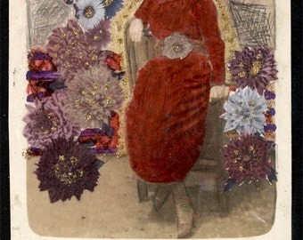 vintage photo Myra Collins Altered Photo Mixed Media Altered Art Flowers Floral Glitter Pencil RPPC