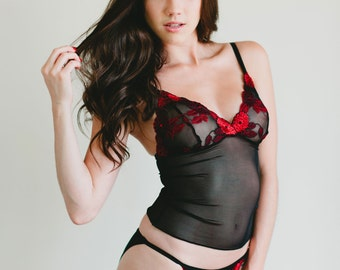 SALE - Sheer Black Mesh Camisole With Red and Black Lace Cups - 'Amaryllis' Style - Custom Fit Made To Order Women's Lingerie