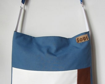 ON SALE Down The Road Antique Blue, Stripe, White, Navy and Rust Open Top Messenger Bag with adjustable strap