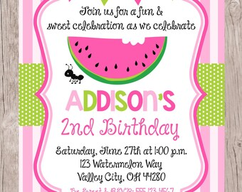 PRINTABLE Pink Watermelon Birthday Party Invitation / Watermelon Birthday Party for Girls / You Print