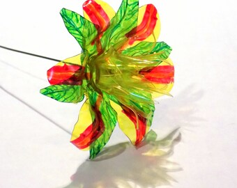 Yellow Fantasy Flower with Red and Orange Striped Petals Upcycled from Plastic Water Bottles One of a Kind