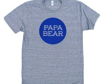 Papa Bear TriBlend Heather Grey TShirt with Royal Blue Print
