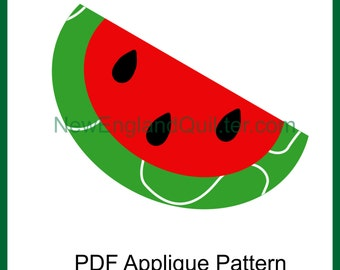 Watermelon Applique PDF Pattern - Quilt Block - BONUS Iron On Transfer Images - Sewing - Crafts - Picnic - Instant Download