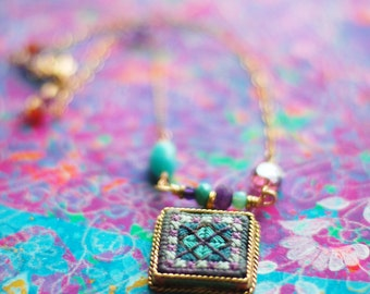 Hand Stitched Patchwork Necklace - turquoise and lavender - needlepoint pendant