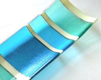 Iridescent Fused Glass Home Decor - Special Wedding Gift -  Aqua, Sea Blue, Sky Blue Glass Platter - Large Glass Platter