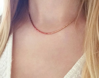 Extra Thin Beaded Ombre Necklace // Minimalist Boho Layering Necklace // Burgundy to Gold Gradient Short Necklace