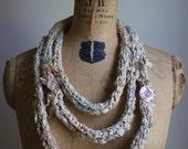 Handknit sari ribbon loop scarf boho jewelry lariat Cream Antique Ivory
