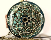 Women's Gift Anniversary Gift Locket Necklace Blue Locket Green Locket Upcycled Vintage Locket Memorial Pendant Remembrance Necklace Stars