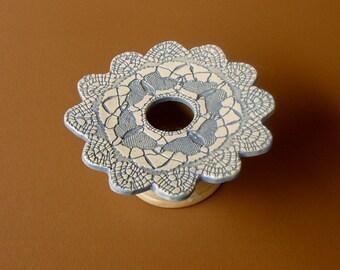 Petite Ikebana Butterfly Vase . Handmade Ceramic Pottery . Doily Lace Ikebana Vessel