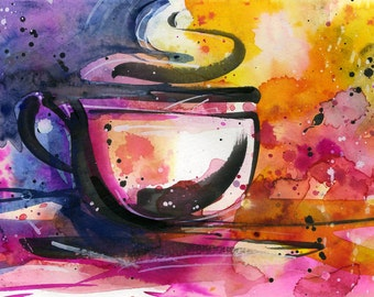 "Coffee Cup painting, Colorful Abstract Coffee watercolor art, Original ooak painting ""Coffee Dreams 9""  by Kathy Morton Stanion  EBSQ"