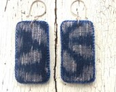 Indigo Kasuri Textile Earrings with Sterling Earwires