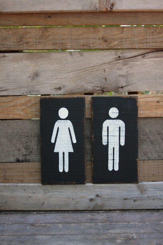 Restroom Sign Bathroom Sign Painted Wood By TheRustedMonkey