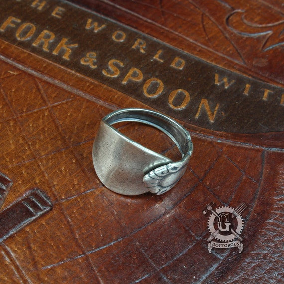 Demitasse Spoon Ring - Self Adjustable - Stackable - Midi ring - Sterling Silver Plated - Antique Victorian Inspired Design