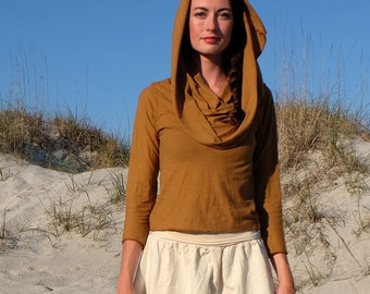 ORGANIC Super Cowl Simplicity Cropped Shirt - ( organic tissue cotton ) - organic cotton shirt
