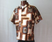 Hawaiian Shirt Mens 60s Shirt Barkcloth Tiki Shirt Tropical Shirt M to L