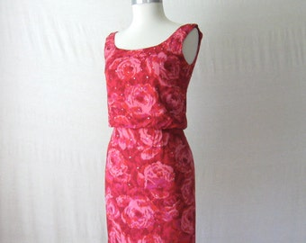 Floral Dress 1960s Rhinestone Dress Vintage 60s Dress Cocktail Dress