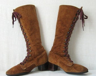 Knee High Boots 60s 70s Boots Vintage Brown Suede Lace Up Boots Size 6 / 36