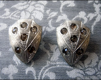 Art Deco Spiderweb Button Covers circa 1920 - matched pair with all original crystals