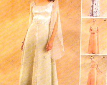 Romantic Brides Wedding dress Evening wear dress sewing pattern McCalls 3096 Sz 4 to 8 XS UNCUT