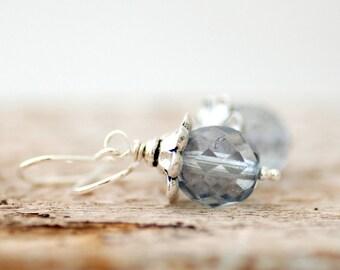 Light Blue Earrings, Romantic Earrings, Beach Wedding, Something Blue, Pastel Earrings, Sweet Earrings, Vintage Inspired - Forget Me Not