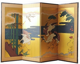 Gold silk 4 panel Asian folding screen divider with white cranes in gold background, artist signed