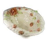 Large Ceramic Art Bowl - Handmade Porcelain Centerpiece Bowl - Decorative Flowers - Ships Today